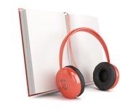 Open book and  headphones Stock Photo