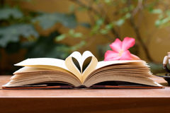 Open book with heart shape page.  stock image