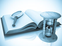 Open book with a hourglass and magnifier Stock Photography