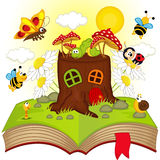 Open book with house stump and insects Royalty Free Stock Photos