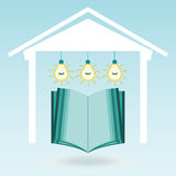 An open book in the house under the electric lamps. Investment in education, knowledge. The symbol library royalty free illustration