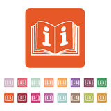 The open book icon. Manual and tutorial, instruction, encyclopedia symbol. Flat Royalty Free Stock Photos