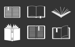 Open Book Icon Set Grey Stock Photos