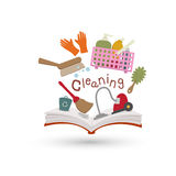 Open book and icons of cleaning Stock Image