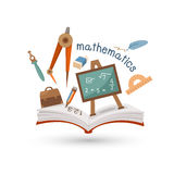 Open book and icons of mathematics Royalty Free Stock Photography