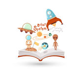 Open book and icons of science Stock Image
