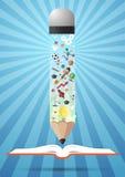 Open book idea and pencils.education concept Stock Image