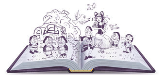 Open book illustration. Fairy tale Snow White and 7 Dwarfs Stock Photos