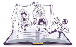 Open book illustration Tale of Puss in Boots Royalty Free Stock Photography