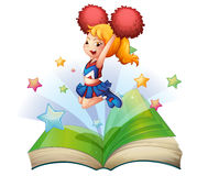 An open book with an image of a dancing cheerleader stock illustration