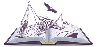 Open book. Indians sit at wigwam on pages of open book. Adventure story. Cartoon illustration in vector format Stock Images