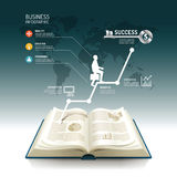 Open book infographic business step paper graph line idea Stock Photo