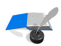 Open book with Inkwell and pen Stock Photography