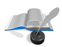 Open book with Inkwell and pen Stock Photos