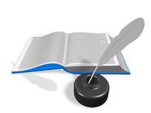 Open book with Inkwell and pen Royalty Free Stock Images