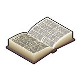 Open Book isometric . Ancient text. old edition in Hard Stock Photography