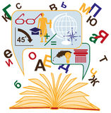 Open book and knowledge Stock Images
