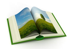 Open book with a landscape. Royalty Free Stock Photos
