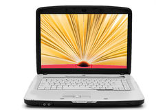 Open book on the laptop screen , e-book. Open book with yellow pages on the screen laptop, e-book,  white Royalty Free Stock Photo