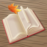 Open book and leaf Royalty Free Stock Photo