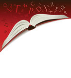 Open book with letters. Open book illustration on a red background with letters tumbling Royalty Free Stock Photo