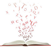 Open book with letters Stock Images