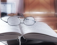 Open book in the library. Close up Royalty Free Stock Photos