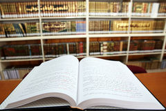 Open Book in library Stock Photos