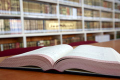Open book in library Stock Photography