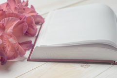 Open book on light table. Royalty Free Stock Photo