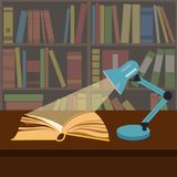 Open book in the light of a work lamp. Simple illustration stock illustration