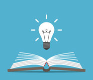 Open book and lightbulb. Open book and bright glowing light bulb on blue background. Education, idea and insight concept. Flat design. Vector illustration. EPS 8 Stock Images