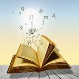 Open book with lightbulb and letters. Concept of reading. Stock Photo