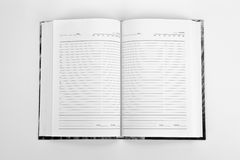 Open book with lines. On white background Royalty Free Stock Image
