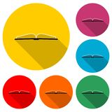 Open book logo, Book icon, color set with long shadow