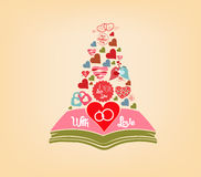 Open book love hearts background Royalty Free Stock Photos