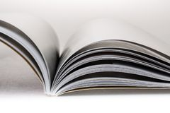 Open book or magazine. Magazine open book page searching communication shadow stock images