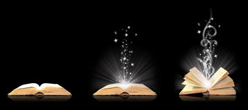 Open book magic on black. Series Royalty Free Stock Photography