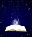 Open book magic on night sky background stock illustration