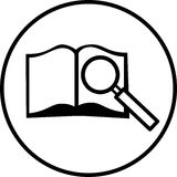 Open book with magnifier vector symbol Royalty Free Stock Photos