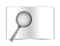 Open book and magnify glass. illustration Royalty Free Stock Photography