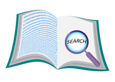 Open book with magnifying glass Stock Image