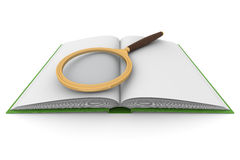 Open book and magnifying glass on white background Royalty Free Stock Photo