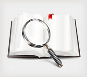 Open book and magnifying glass on white Royalty Free Stock Photography