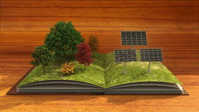 Open book makes Solar power plant, solar panel, solar energy, brown background.