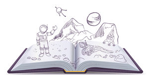 Open book Martian. Science Fiction space. Illustration in vector format Stock Photos