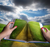 Open book and meadow landscape royalty free stock photos