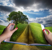 Open book and meadow landscape royalty free stock images