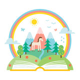 Open Book and Nature Landscape of Hills and Rainbow. Science and Nature Study Illustration. Stock Image