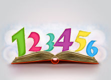 Open book with numbers in it Stock Images